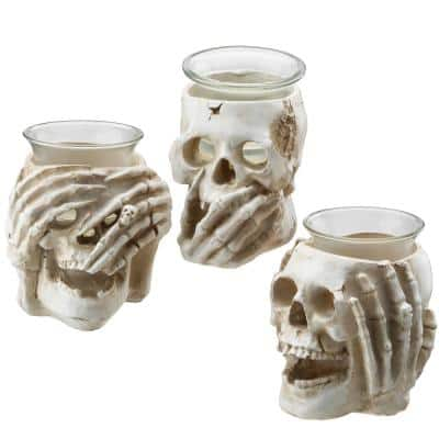 Set of 3 Skull Candle Holders