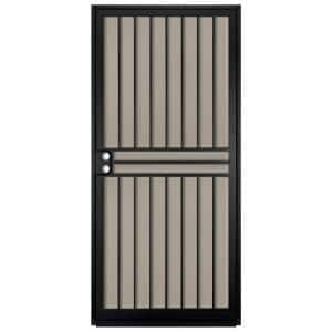 36 in. x 80 in. Guardian Black Surface Mount Outswing Steel Security Door with Tan Perforated Aluminum Screen