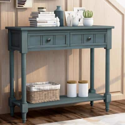 36 in. Rectangle Navy Wood Console Table with 2-Drawers and Bottom Shelf
