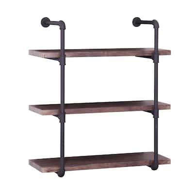 Staci 34.75 in. Dark Brown Wood 3-Shelf Accent Bookcase