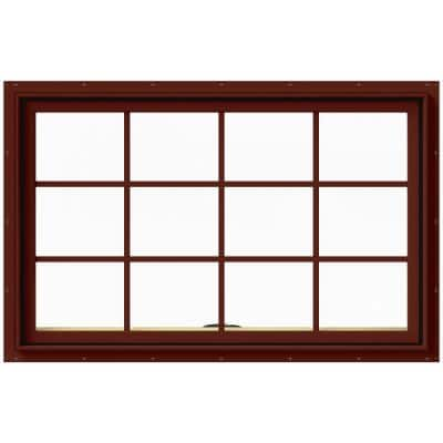 48 in. x 30 in. W-2500 Series Red Painted Clad Wood Awning Window w/ Natural Interior and Screen