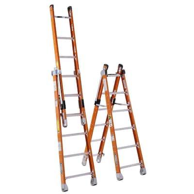 12 ft. Fiberglass Combination Ladder with 375 lb. Load Capacity Type IAA Duty Rating