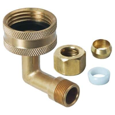 3/4 in. Female Hose Thread Swivel Nut x 3/8 in. O.D. Compression Dishwasher Elbow with Nut, Sleeve and Hose Washer