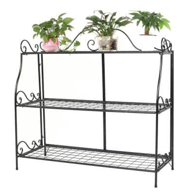 14.5 in. Tall Indoor/Outdoor Black Metal Plant Stand with Lace (3-Tier )