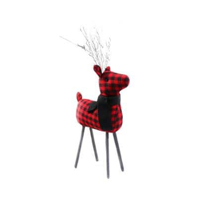 10 in. Christmas Traditional Theme Red Plaid Reindeer
