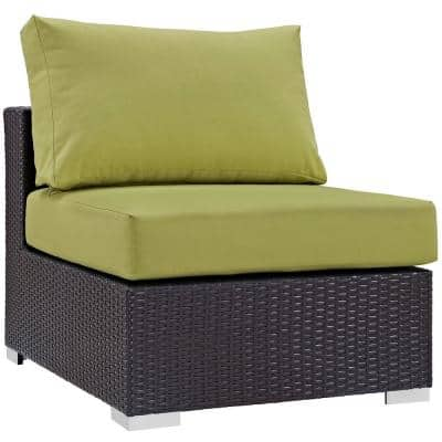 Convene Patio in Espresso Wicker Armless Middle Outdoor Sectional Chair with Peridot Cushions
