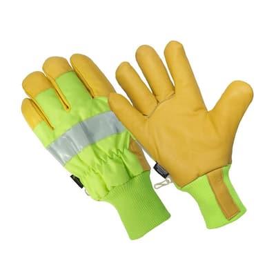 The Ignitor Men's 3M Thinsulate Lined 100% Waterproof Hi Viz Leather Palm Premium Goat Grain Glove