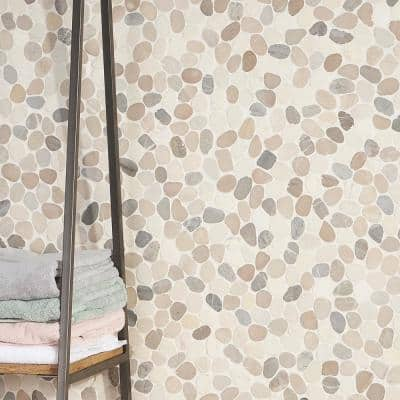 Countryside Sliced Round 11.81 in. x 11.81 in. Light Blend Floor and Wall Mosaic (0.97 sq. ft. / sheet)