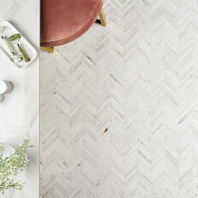 Arctic White 11 in. x 11.61 in. Herringbone Polished Marble Mosaic Tile (0.89 sq. ft./Sheet)