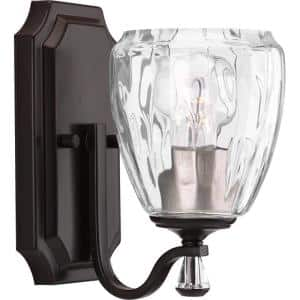 Anjoux Collection 1-Light Antique Bronze Clear Water Glass Luxe Bath Vanity Light