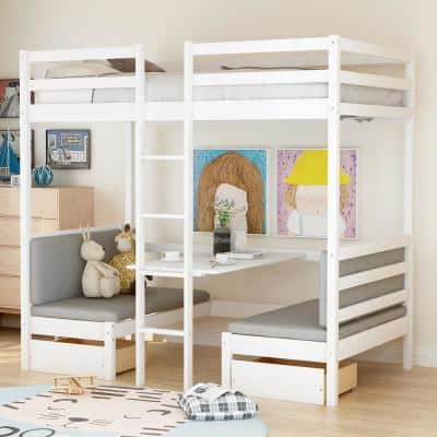 White Multifunctional Bunk Bed with Desk
