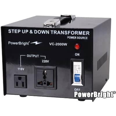 2000-Watts Step Up/Down Converter 110/120-Volt - 220/240-Volt Voltage Transformer