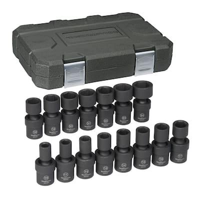 1/2 in. Drive Metric Impact Universal Socket Set (15-Piece)
