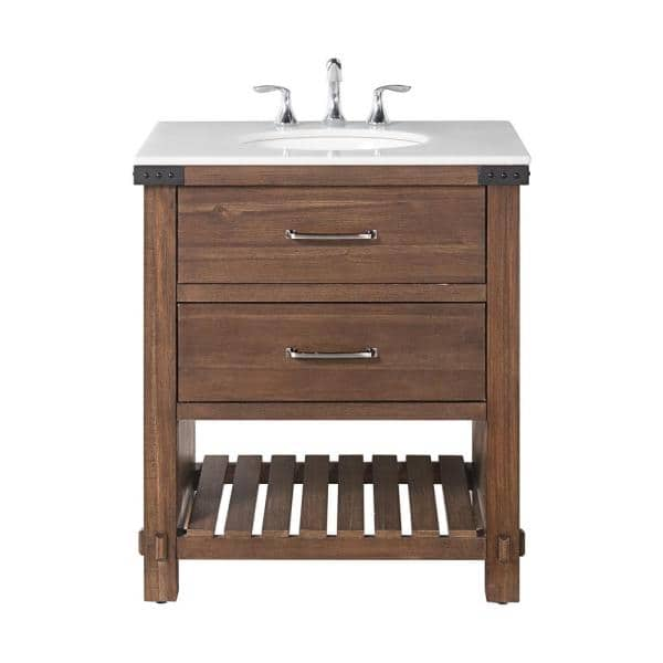 Home Decorators Collection Minton 31 In W X 22 In D Bath Vanity In Rustic Wood With Marble Vanity Top In White With White Basin Bf 27130 Rw The Home Depot