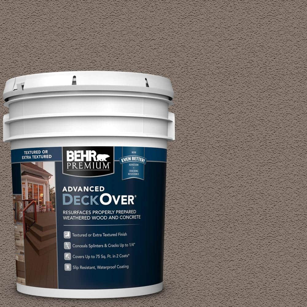 BEHR PREMIUM ADVANCED DECKOVER 5 gal. #SC-159 Boot Hill Grey Textured Solid Color Exterior Wood and Concrete Coating