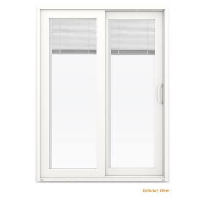 60 in. x 80 in. V-4500 White Vinyl Right-Hand Full Lite Sliding Patio Door w/Internal Blinds