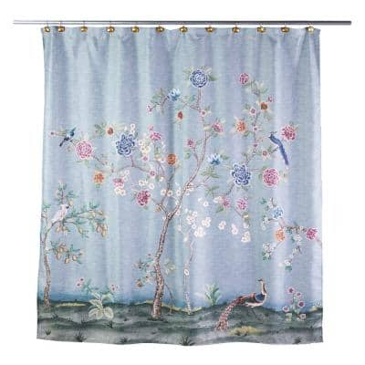 Spring Blooms 72 in. Blue Shower Curtain