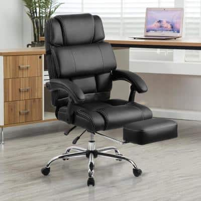 Black PU Leather Double Padded Office Chair with Support Cushion and Footrest