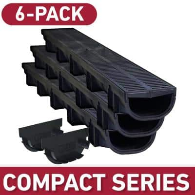 Compact Black 5.4 in. W x 3.2 in. D x 39.4 in. L Trench and Channel Drain Kit (6-Pack)
