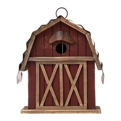 10.25 in. H Wood Red Barn Garden Birdhouse