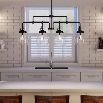 Belton 4-Light Heirloom Bronze Transitional Industrial Hanging Kitchen Island Chandelier Light Fixture