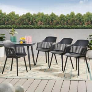 Dahlia Black Plastic Outdoor Dining Chair (4-Pack)