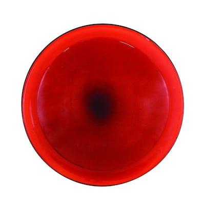 12.5 in. Dia Red Reflective Crackle Glass Birdbath Bowl