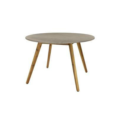 Round Gray Concrete Outdoor End Table with Wooden Mid-Century Legs