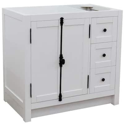 Plantation 36 in. W x 21.5 in. D x 34.5 in. H Bath Vanity Cabinet Only in Glacier Ash Left Cabinet Doors