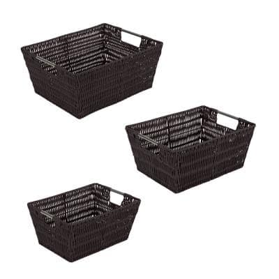 SM- 8.3 in.x 11.5 in.x 5.5 in., MD- 9.8 in.x 13 in.x 6 in., 3 Pack Set Rattan Tote Baskets in Chocolate
