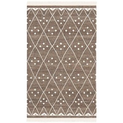 Natural Kilim Brown/Ivory 4 ft. x 6 ft. Geometric Area Rug