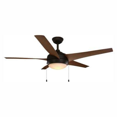 Windward 52 in. Integrated LED Indoor/Outdoor Oil-Rubbed Bronze Ceiling Fan with Light Kit