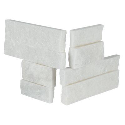 Arctic White Mini Ledger Panel Corner 4.5 in. x 9 in. Natural Split Face Marble Wall Tile (4 sq. ft./Case)