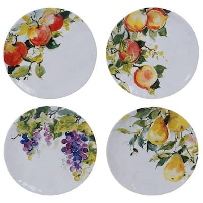 Ambrosia 4-Piece Seasonal Multicolored Earthenware 8.5 in. Salad Plate Set (Service for 4)