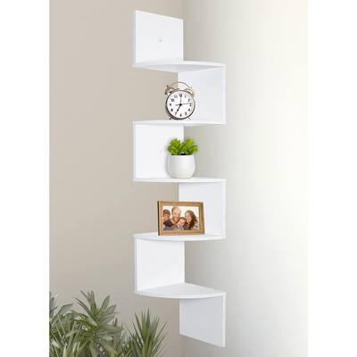 5-Tier 7.75 in. x 48.5 in. x 7.75 in. White Laminate Corner Decorative Wall Shelves