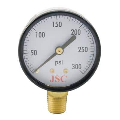300 PSI Pressure Gauge with 3-1/2 in. Face and 1/4 in. MIP Brass Connection