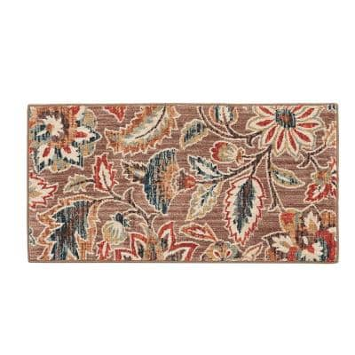 Elyse Taupe 2 ft. x 4 ft. Floral Area Rug