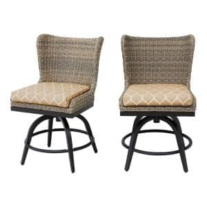 Hazelhurst Brown Wicker Outdoor Patio Swivel High Dining Chairs with CushionGuard Toffee Trellis Tan Cushions (2-Pack)