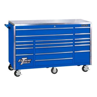 72 in. 17-Drawer Professional Roller Cabinet with Stainless Steel Work Surface in Blue