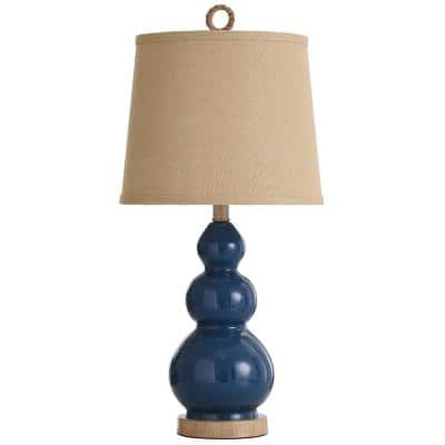 Nautical 26.5 in. Blue Taupe Bedside Lamp
