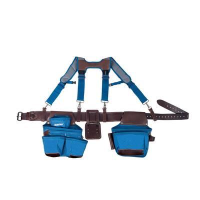 2-Bag Hybrid Suspension Rig Work Tool Belt with Suspenders in Blue