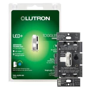 Toggler LED+ Dimmer Switch for Dimmable LED, Halogen and Incandescent Bulbs, Single-Pole or 3-Way, White