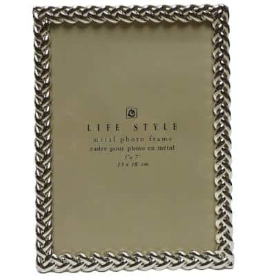 5 in. x 7 in. Silver Knotted Border Picture Frame