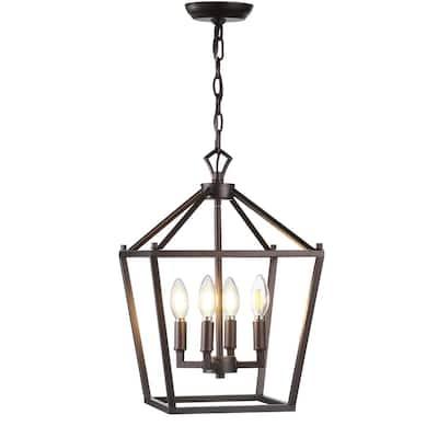 Pagoda 12 in. 4-Bulb Oil Rubbed Bronze Lantern Metal LED Pendant