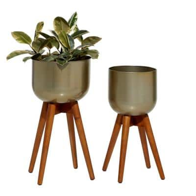 Gold Metal Planters With Wood Base, (Set of 2): 21 in. x 24 in.