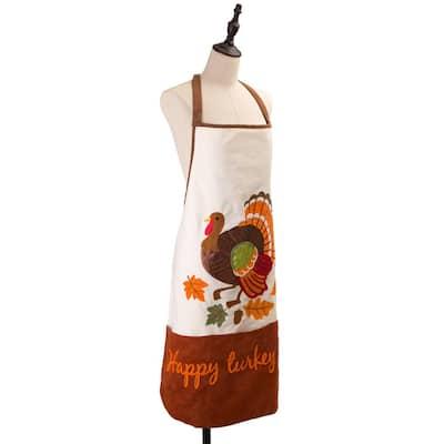 32 in. L Cotton Embroidered Turkey Apron