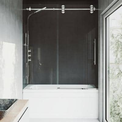 Elan 56 to 60 in. W x 66 in. H Sliding Frameless Tub Door in Stainless Steel with Clear Glass