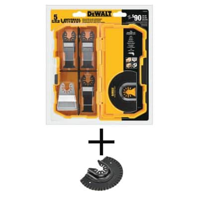 Oscillating Blade Set (5-Piece) with Bonus Oscillating Fast Cut Carbide Grout Removal Blade