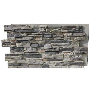 Lightning Ridge 48 in. x 24 in. Class A Fire Rated Faux Stone Siding Panel Finished Gray Fox