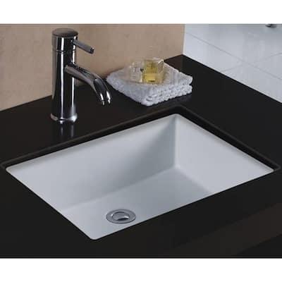 Rhythm Series 20 in. Rectangular Undermount Single Bowl Bathroom Sink in White